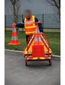 Chariot de signalisation support dévidoir